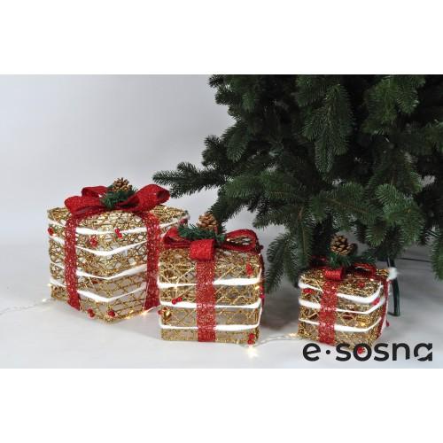 Подарки под елку золото с красными бантами комплект
