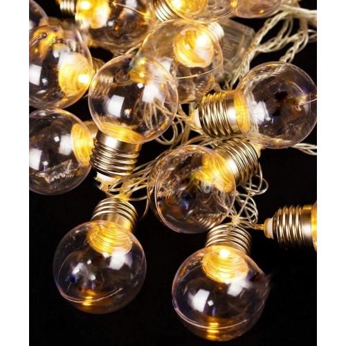 Гирлянда ретро лампочки 40 мм 20 LED 7 м прозрачные