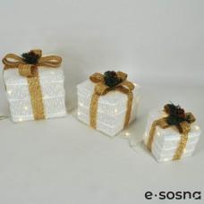 Подарки под елку белый с золотыми бантами комплект
