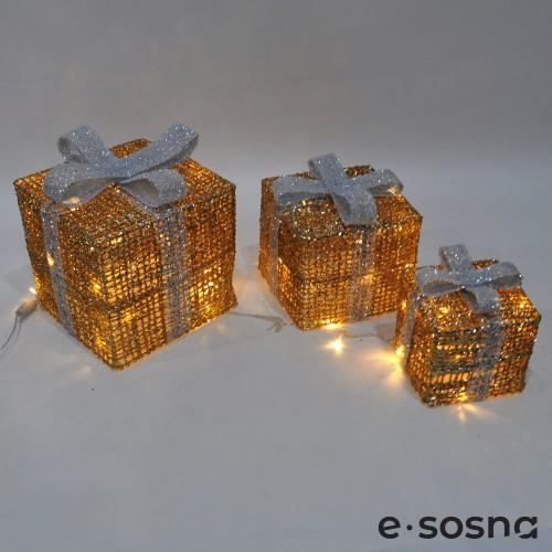 Подарки под елку золото с белыми бантами комплект